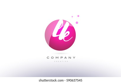 lk l k  sphere pink 3d alphabet company letter combination logo hand writting written design vector icon template