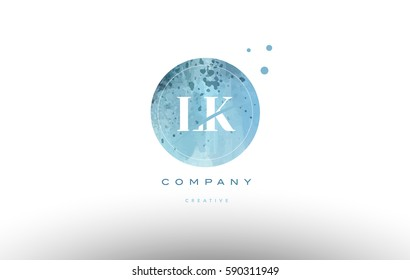 lk l k  watercolor grunge vintage alphabet company letter combination logo circle design vector icon template