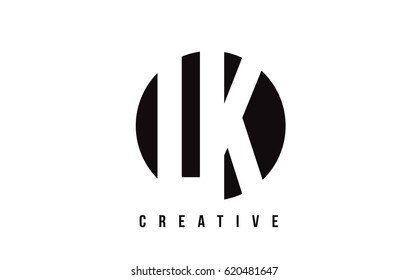 LK L K White Letter Logo Design with Circle Background Vector Illustration Template.