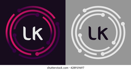 LK letters business logo icon design template elements in abstract background logo, design identity in circle, alphabet letter
