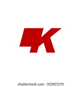 LK negative space letter logo red