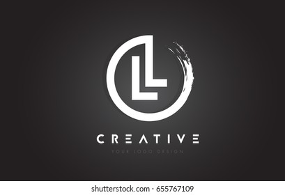 LL Circular Letter Logo with Circle Brush Design and Black Background.