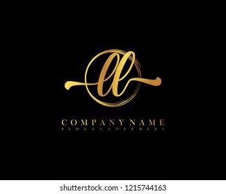 LL initial handwriting logo circle template vector