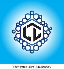 LL Initial letter hexagonal logo vector
