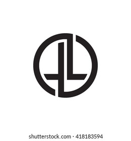 LL initial letters looping linked circle monogram logo