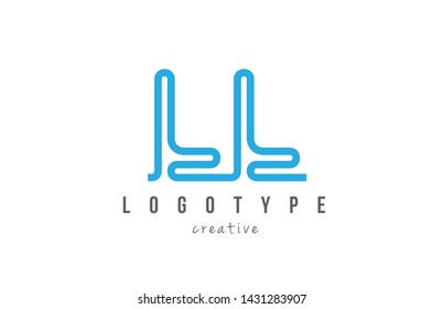 LL L L blue joined line alphabet letter logo combination suitable as icon design for a company or business