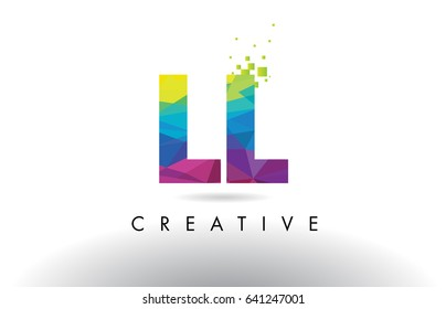 LL L Colorful Letter Design with Creative Origami Triangles Rainbow Vector.