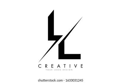 LL L L Letter Logo Design with a Creative Cut. Creative logo design..