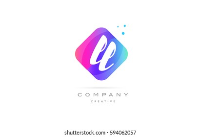 ll l  pink blue rhombus abstract 3d alphabet company letter text logo hand writting written design vector icon template