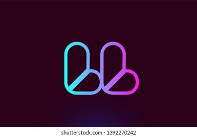LL L L pink line joined alphabet letter combination suitable as a logo icon design for a company or business
