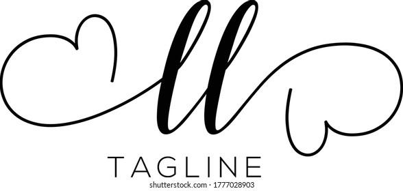 LL  Letter Initial Logo Design, Vector Template