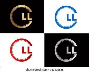 LL Logo. Letter Design Vector with Red and Black Gold Silver Colors