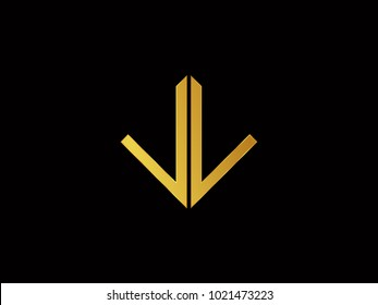 LL square shape Gold color logo