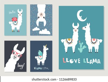 Llama, alpaca collection, cute illustration and design for nursery design, poster, birthday or greeting card. Vector set