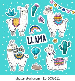 Llama or alpaca hand drawn illustration. Cute llama and cactus wall art, friendly woolly mammal, banner for petting zoos and farms. Vector image on light blue background