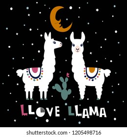 Llama Alpaca. Love llama card. Vector illustration
