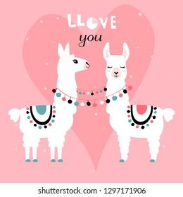 Llama Alpaca. Pair of loving llamas. Vector illustration