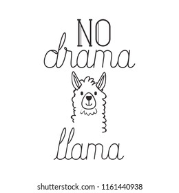 llama animal with messsage hand made font