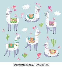Llama animal vector color set