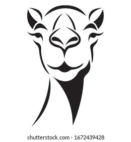 Llama of black color, silhouette drawn by various lines in a flat style. Alpaca tattoo, exotic animal logo, fashion design, emblem, sticker, album, paper, banner, print. Isolated vector illustration