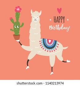 llama with cactus, vector illustration on pink background