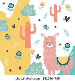 Llama cartoon design vector illustration