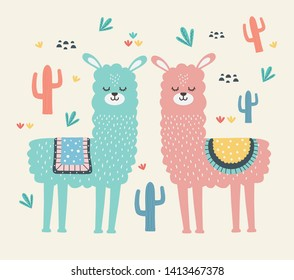 Llama cartoon design vector illustration