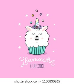Llama cupcake cute illustration with unicorn llama and stars.
