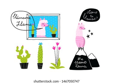 Llama designs with cactus and mountains hand drawn funny prints lettering in Spanish: What is your name? My name is Llama. Lama talking, cactus potted hand drawn vector isolated clip art for design.