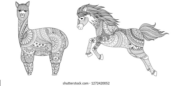 Llama and horse for coloring book,coloring page,colouring picture and other design element.Vector