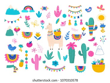 Llama illustration, cute hand drawn elements and design for nursery design, poster, birthday greeting card