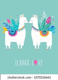 Llama Love illustration, cute hand drawn elements and design for nursery design, poster, birthday greeting card