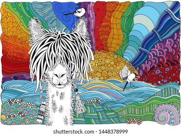 Llama on a beach. Fantasy color picture with sun and sea shore. Coloring book page for adult in zentangle style. Doodle, hand-drawn, vector illustration. Black and white and other colors