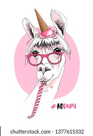 Llama in a pink glasses, ice cream party hat, and with a party whistle blowing. #No drama - lettering quote. Happy birthday humor card, t-shirt composition, hand drawn style print. Vector illustration