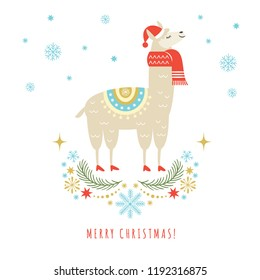 Llama in red scarf and hat ,vector illustration, merry christmas and new year greeting card