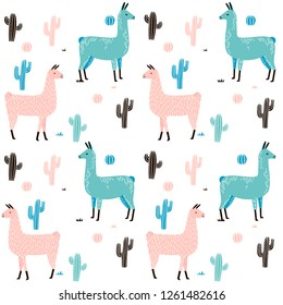 Llama Seamless pattern with cactus. hand drawn alpaca and lama cute childish background. Girly fabric, cartoon textile Vector Illustration