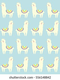 Llama seamless repeating pattern on blue background. Vector illustration