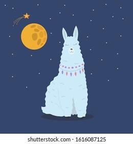 Llama with stars and moon, night sky, cute animal poster.