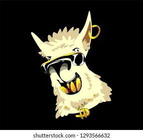 Llama vector doodles. No prob llama motivational rich billionaire llama. Simple cool llama head drawing with sunglasses and gold teeth, hand drawn vector illustration for cards, t-shirts, cases