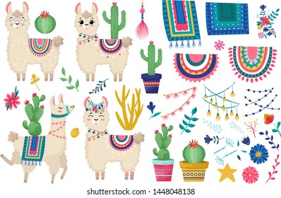 Llama vector illustration.Set of peruvian decorations alpaca:saddle with patterns, tassels,ribbons,succulent,prayer flags,flowers and other decoration.Cute hand drawn elements.