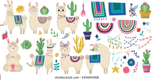 Llama vector illustration.Set of peruvian decorations alpaca:saddle with patterns, tassels,ribbons,prayer flags,flowers and other decorations for the animal