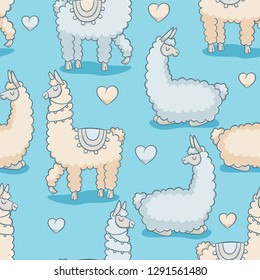 Llama, vector seamless pattern, cute design with hearts