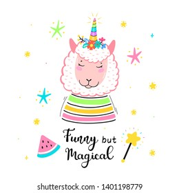 "Llamacorn or Llamicorn. Magic Cute Unicorn Llama with Flower Horn and ""Funny but Magical"" quote Vector Illustration. Kawaii Lama t-shirt Print, Baby Shower Card, Nursery Poster, Birthday"