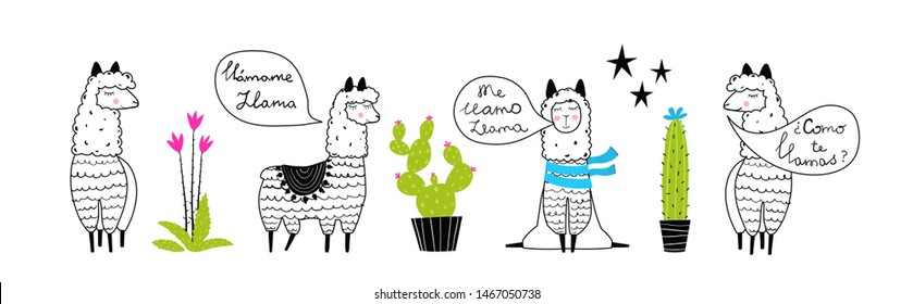 Llamas and cactus outline set hand drawn trendy cartoon design. Speaking Spanish: What is your name? My name is Llama.  Green cacti and black outline llama animals. Vector drawing.