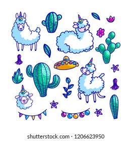 Llamas characters hand drawn vector color illustrations set. Cartoon llamacorn, cactus, mexican hat, festive decorations. Lama, alpaca, sheep doodle cliparts collection. Mexico culture design elements