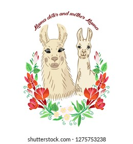 Llamas with flowers wreath. Hand drawn animals sketches. Vector Illustration