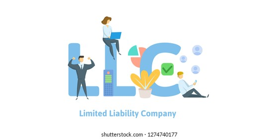 LLC, Limited Liability Company. Concept with keywords, letters and icons. Colored flat vector illustration. Isolated on white background.