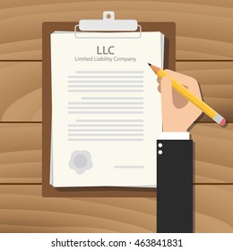 llc limited liability company illustration with hand signing a paper document