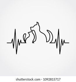 Lline of the pulse with cat and dog vector illustration.