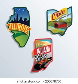llinois, Indiana, Ohio, United States vector illustrations